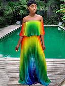 hesapli Mini Elbiseler-Kadın's Temel Çan Elbise - Zıt Renkli, Desen Maksi