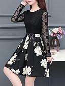 hesapli Romantik Dantel-Kadın's Sokak Şıklığı Zarif A Şekilli Elbise - Solid, Dantel Kırk Yama Diz üstü