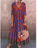 povoljno Majica-Žene Ulični šik Shift Haljina - Print, Geometrijski oblici V izrez Maxi