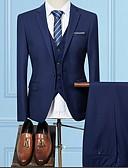 hesapli Erkek Blazerları ve Takım Elbiseleri-Erkek Suit, Solid Gömlek Yaka Polyester Siyah / Şarap / Açık Gri US32 / UK32 / EU40 / US34 / UK34 / EU42 / US38 / UK38 / EU46