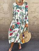 ieftine Rochii Plus Size-Pentru femei De Bază Shift Rochie - Imprimeu, Floral Midi