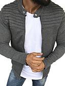 זול גברים-ג'קטים ומעילים-בגדי ריקוד גברים יומי רגיל ג'קט, אחיד צווארון עגול שרוול ארוך פוליאסטר תלתן / שחור / אפור