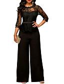 povoljno Ženski jednodijelni kostimi-Žene Aktivan Crn Lila-roza Plava Jumpsuits, Jednobojni Čipka S M L