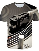 cheap Men's Clothing-Men's Daily Street Exaggerated Plus Size T-shirt - 3D Print Round Neck Light gray / Short Sleeve