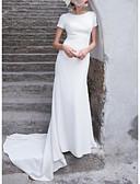 povoljno Vjenčanice-Kroj uz tijelo Ovalni izrez Jako kratki šlep Saten Izrađene su mjere za vjenčanja s Mašna po LAN TING Express