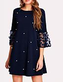 hesapli Mini Elbiseler-Kadın's Zarif Kombinezon Elbise - Solid, Dantel Kırk Yama Diz üstü