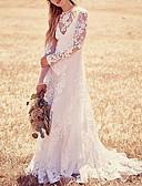 billige Bryllupskjoler 2019-A-linje Besmykket Svøpeslep Blonder Made-To-Measure Brudekjoler med Appliqué av LAN TING Express