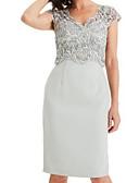 זול שמלות ערב-מעטפת \ עמוד צווארון V באורך  הברך שיפון / תחרה שמלה לאם הכלה  עם תחרה / קפלים על ידי LAN TING Express