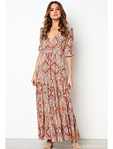 זול שמלות מקרית-מקסי דפוס, פרחוני - שמלה סווינג בסיסי בגדי ריקוד נשים