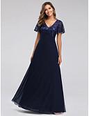 povoljno Maturalne haljine-A-kroj V izrez Do poda Til / Sa šljokicama See Through Prom Haljina s Vez po LAN TING Express