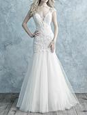 povoljno Vjenčanice-Sirena kroj V izrez Jako kratki šlep Čipka / Til Izrađene su mjere za vjenčanja s Perlica / Gumbi po LAN TING Express