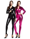 povoljno Zentai odijela-Zentai odijela Catsuit Odijelo za kožu Djevojka za motocikle Odrasli Spandex Lateks Cosplay Nošnje Spol Muškarci Žene Crn / Fuschia Jednobojni Božić Halloween / Visoka elastičnost