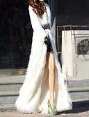 abordables Abrigos de pieles y de piel sintético de mujer-Mujer Diario Otoño invierno Regular Abrigo de piel sintética, Un Color Cuello Vuelto Manga Larga Piel Sintética Negro / Blanco