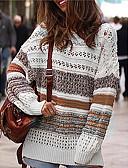 povoljno Ženski džemperi-Žene Prugasti uzorak Dugih rukava Pullover, Okrugli izrez Plava / Braon S / M / L