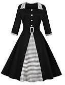 povoljno Vintage kraljica-Žene Vintage Osnovni A kroj Korice Haljina Color block Karirani uzorak Midi