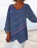 billige T-skjorter til damer-V-hals Store størrelser T-skjorte Dame - Fargeblokk Grunnleggende Lilla