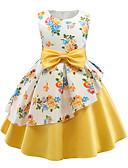 זול שמלות לילדות פרחים-נסיכה מעל הברך / באורך  הברך שמלה לנערת הפרחים  - פוליאסטר / תערובת כותנה\פוליאסטר ללא שרוולים עם תכשיטים עם דוגמא \ הדפס / סרט / קפלים על ידי LAN TING Express