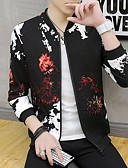 זול גברים-ג'קטים ומעילים-בגדי ריקוד גברים יומי סתיו חורף רגיל ג'קט, גיאומטרי עומד שרוול ארוך פוליאסטר שחור / יין / אפור בהיר