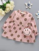 povoljno Haljinice za bebe-Dijete Djevojčice Aktivan Print Print Dugih rukava Iznad koljena Haljina Blushing Pink