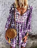 זול שמלות מודפסות-עד הברך פרחוני - שמלה גזרת A בגדי ריקוד נשים
