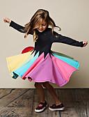 povoljno Kompletići za dječake-Djeca Djevojčice Slatka Style Prugasti uzorak Cvjetni print Dugih rukava Do koljena Haljina Crn / Pamuk