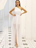 povoljno Maturalne haljine-A-kroj Na jedno rame Do poda Šifon Prom Haljina s Drapirano / Prednji izrez po LAN TING Express