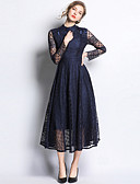 hesapli Romantik Dantel-Kadın's Temel Çan Elbise - Solid, Dantel Şalter Kırk Yama Maksi