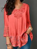 billige Skjorter til damer-V-hals Bluse Dame - Ensfarget Grunnleggende Oransje