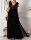 זול שמלות ערב-גזרת A צווארון מרובע עד הריצפה שיפון / טול גב פתוח ערב רישמי שמלה עם פרטים מקריסטל / סרט על ידי LAN TING Express