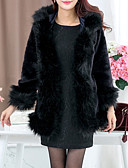 povoljno Ženske kaputi od kože i umjetne kože-Žene Praznik Sofisticirano Zima Normalne dužine Krzneni kaput, Jednobojni V izrez Dugih rukava Umjetno krzno Kolaž Crn
