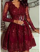 זול תחרה רומטנית-מעל הברך גיאומטרי - שמלה גזרת A אלגנטית בגדי ריקוד נשים