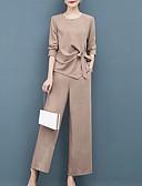 hesapli İki Parça Kadın Takımları-Kadın's Sokak Şıklığı Set Solid Pantolon