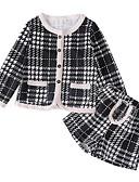 זול סטים של ביגוד לבנות-סט של בגדים שרוול ארוך משובץ דמקה בנות ילדים