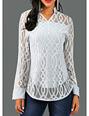 povoljno Bluza-Bluza Žene Kauzalni Jednobojni / Geometrija V izrez Čipka Sive boje / Proljeće / Jesen