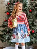 זול שמלות לבנות-שמלה שרוול ארוך פסים / פתית שלג / חג מולד סנטה קלאוס בנות ילדים / פעוטות