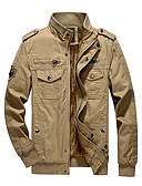 cheap Men's Jackets & Coats-Men's Daily / Work Vintage / Military Winter Regular Jacket, Solid Colored Stand Long Sleeve Cotton Black / Army Green / Khaki