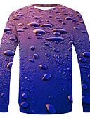povoljno Muške majice i potkošulje-Majica s rukavima Muškarci - Ulični šik / pretjeran Dnevno / Praznik Jednobojni / Na točkice / Grafika Plava