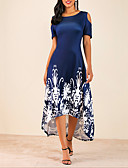 זול שמלות במידות גדולות-מידי לגזור דפוס, פרחוני - שמלה סווינג מידות גדולות בגדי ריקוד נשים