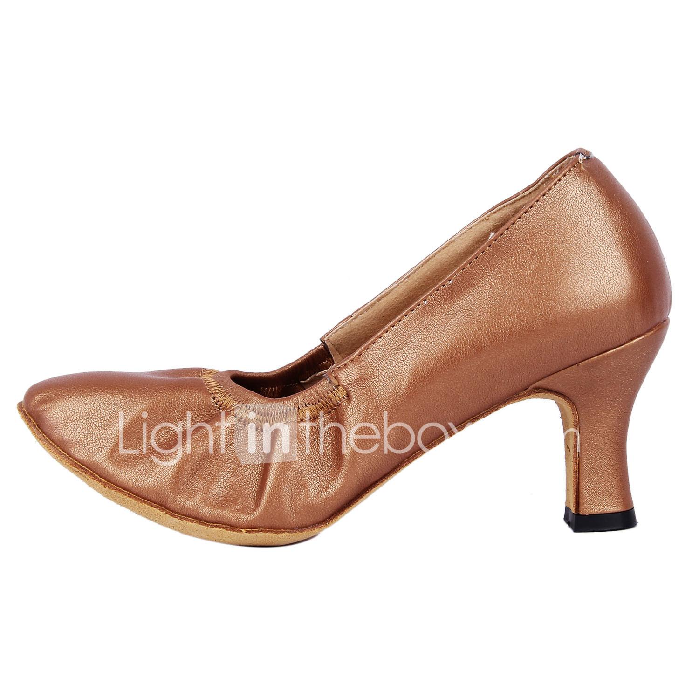 Women's Modern Shoes / Ballroom Shoes Faux Leather Heel Customized Heel  Customizable Dance Shoes Silver /