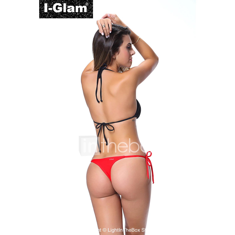 I-Glam Women s Bikini Lingerie Thong String Brazilian Swimwear Tiny Micro  Red Bottom Sheer Top Black Beach Wear  03183779 7744ad83d6