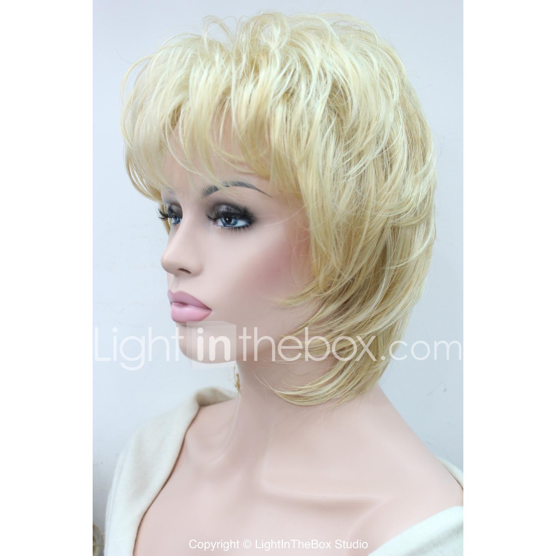 Peruki Syntetyczne Falisty Fryzura Cieniowana Sexy Lady Blond Damskie Bez Czepka Peruka Naturalna średniej Długości Włosy Syntetyczne