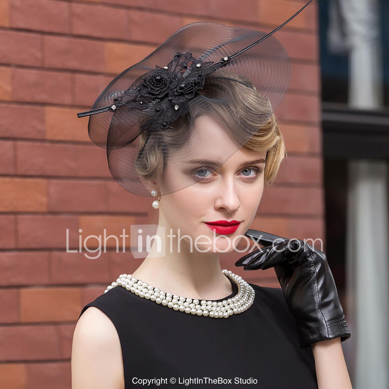 Tulle Rhinestone Feather Hats Headpiece Clical Feminine Style