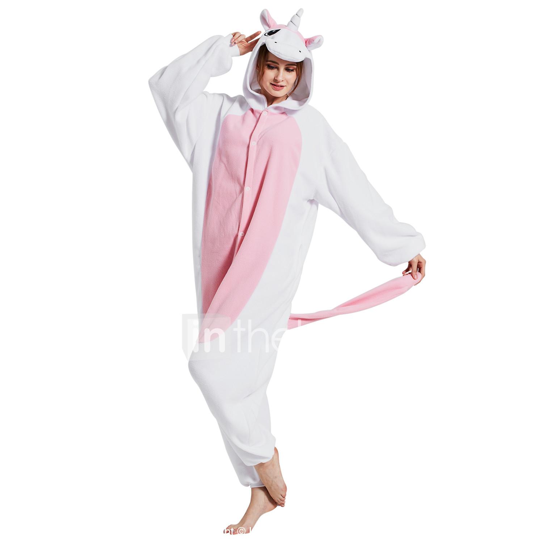 aca93e4ec9 Adulto Pijamas Kigurumi Unicorn Animal Pijamas de una pieza Lana Polar Rosa  Cosplay por Hombre y