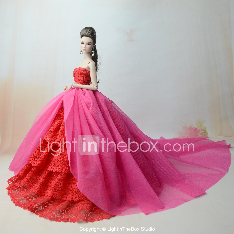 Vestidos Vestir por Muñeca Barbie Fucsia Poliéster / Algodón / Tela ...