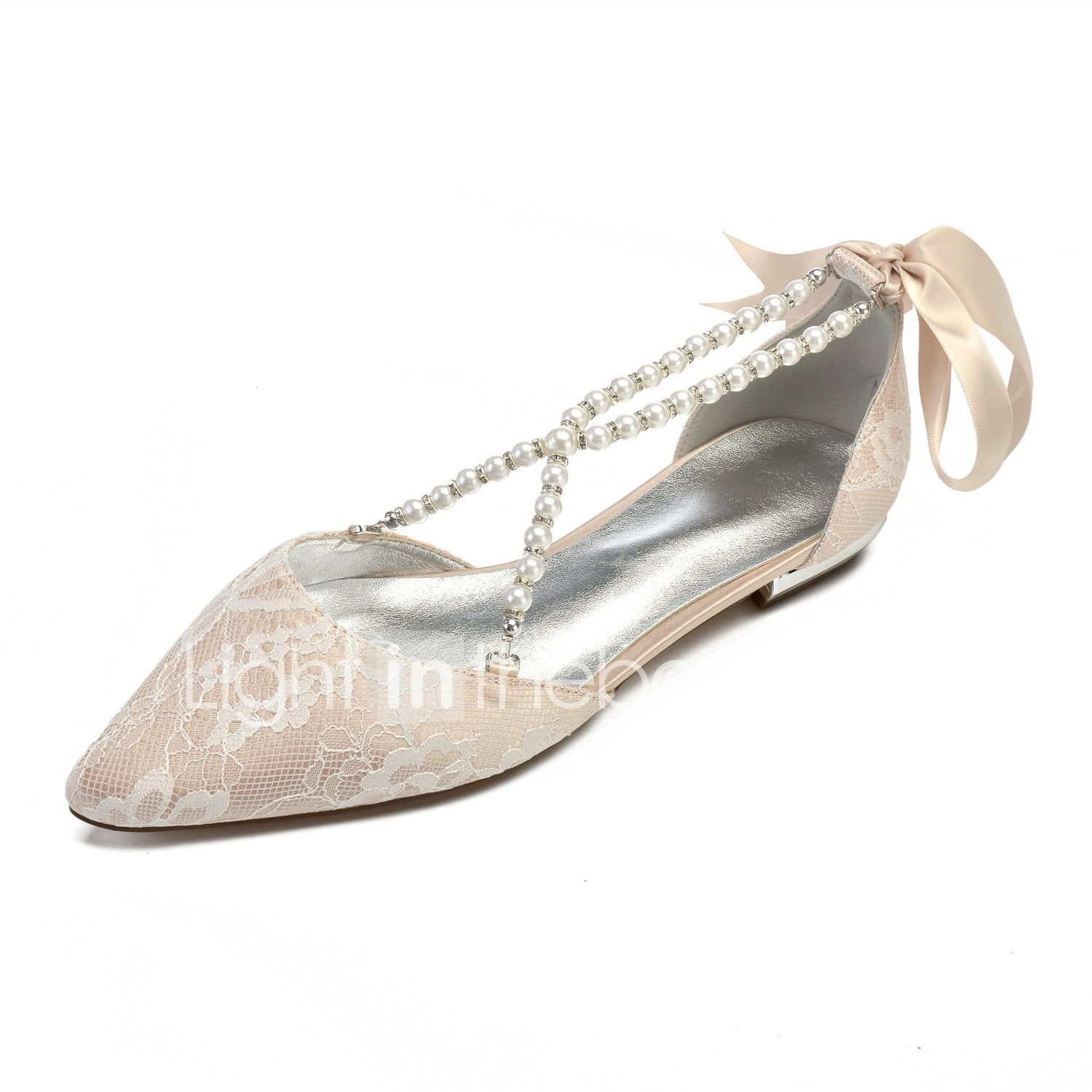 Women's Wedding Shoes Comfort Shoes Flat Heel Pointed Toe Imitation