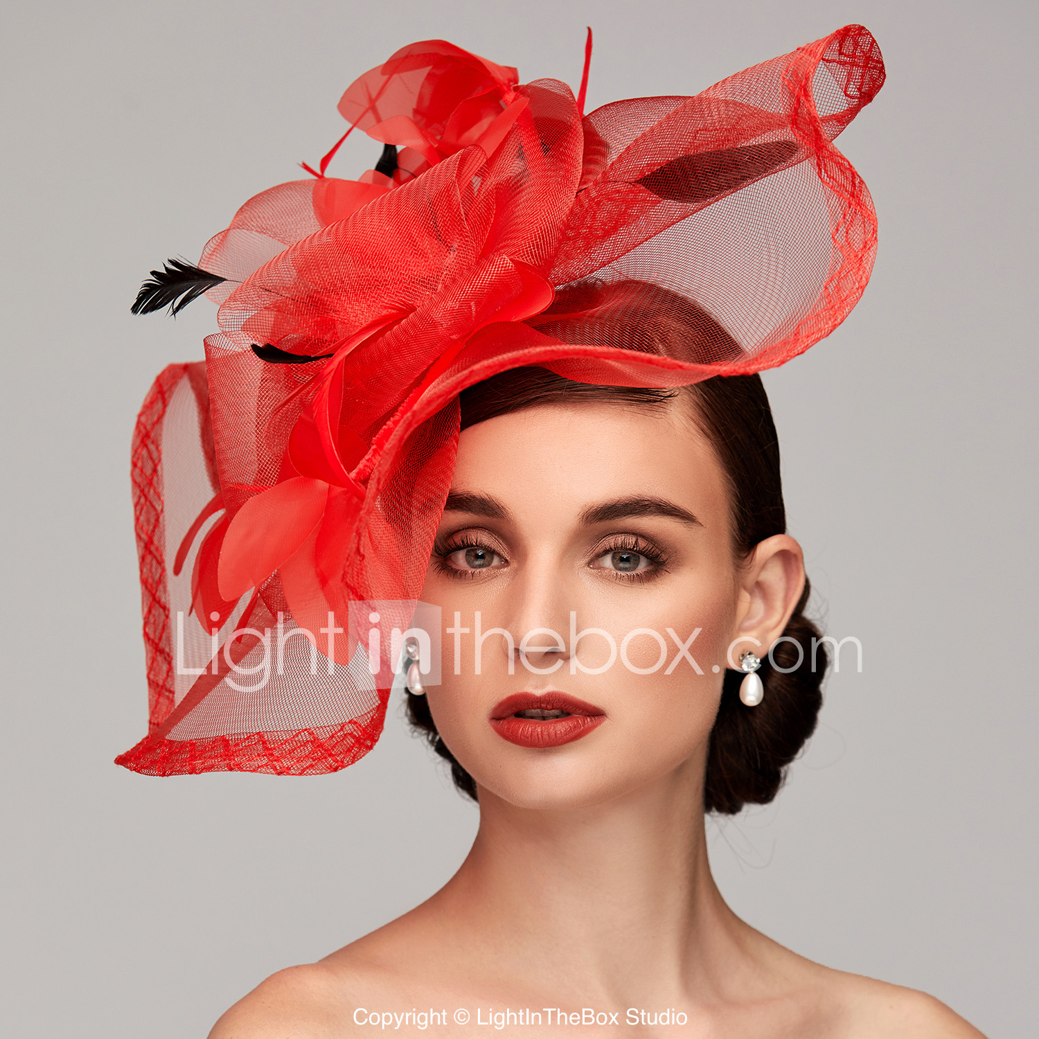 7ef23aa4 Feather / Net Kentucky Derby Hat / Fascinators / Headpiece with Feather /  Floral / Flower 1pc Wedding / Special Occasion Headpiece #06894543