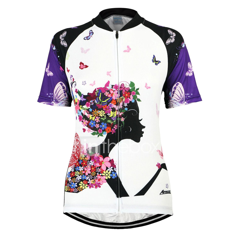 5ded9e5a7f Arsuxeo Mujer Manga Corta Maillot de Ciclismo - Morado Flores   Botánica Bicicleta  Camiseta   Maillot