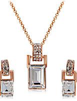 a0230a8351d6 abordables Juego de Joyas-Mujer Claro Cristal Conjunto de joyas Rosa Oro  Plateado