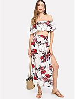bf907f0a0b abordables Trajes de Dos Piezas para Mujer-Mujer Boho Conjunto - Floral