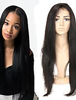voordelige -Human Hair Capless Pruiken Echt haar Recht Zijdeel Stijl Feest / Dames / Beste kwaliteit Gemiddelde Lengte Kanten Voorkant Pruik Braziliaans haar Dames